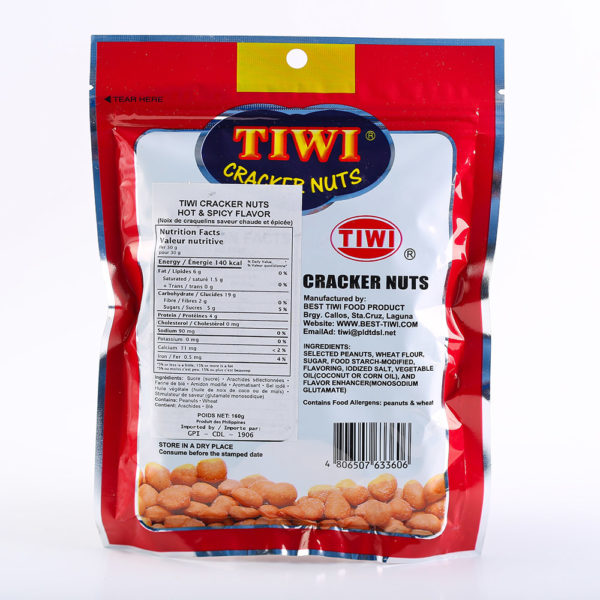 65 1450 4806507633606 TIWI Cracker nuts hot spicy 160g No.2